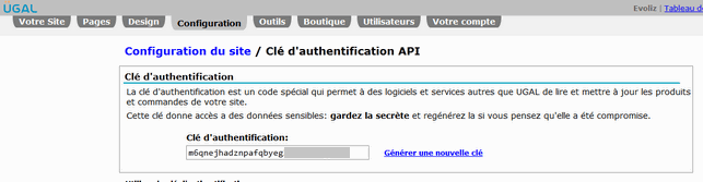 Clé Authentification - Site ecommerce UGAL
