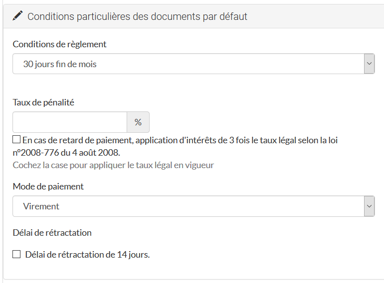 Conditions particulières des documents