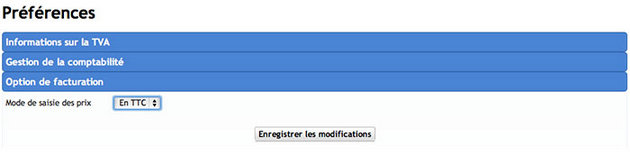 Option de facturation en ligne en TTC